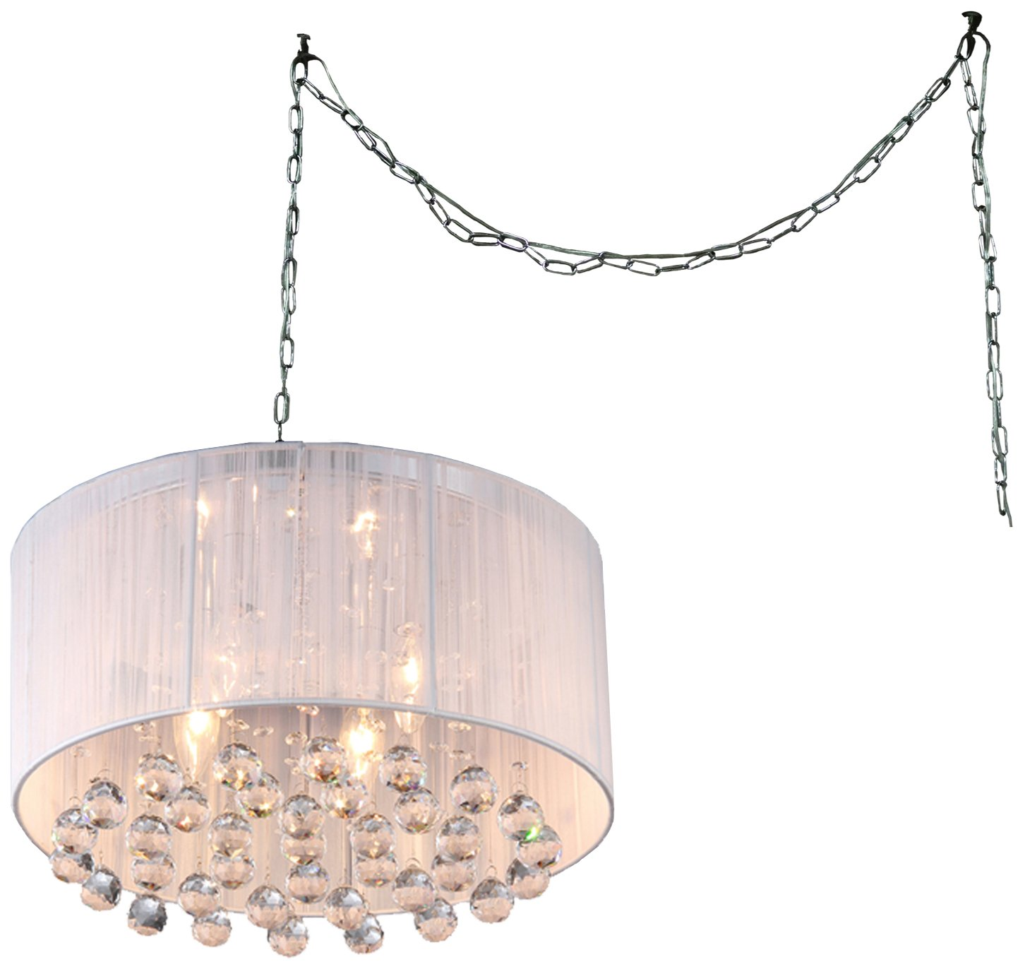 Whse of Tiffany RL8057 SWAG White Mineya 5-Light Swag Lamp, 17'', Chrome by Whse of Tiffany