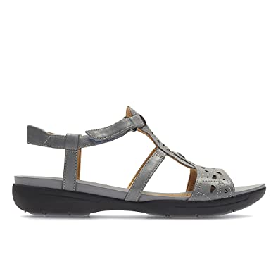 f6dbb7ef290 Clarks Un Valencia Leather Sandals In Grey Blue Wide Fit Size 7   Amazon.co.uk  Shoes   Bags