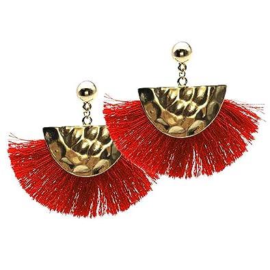 519266d3cbed Pendientes Aretes Flecos Rojo y Dorados Ultima Moda 2018 Zarcillos Earings   Amazon.es  Joyería