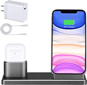 Wireless Charger Station Stand, Aluminum Alloy 2 in 1 15W Fast Charging Dock Stand with 18W USB-C Charger Compatible Airpods pro, iPhone 11 Pro/Xs Max/XR/8, Samsung Galaxy Note 10/S10/S9/S8