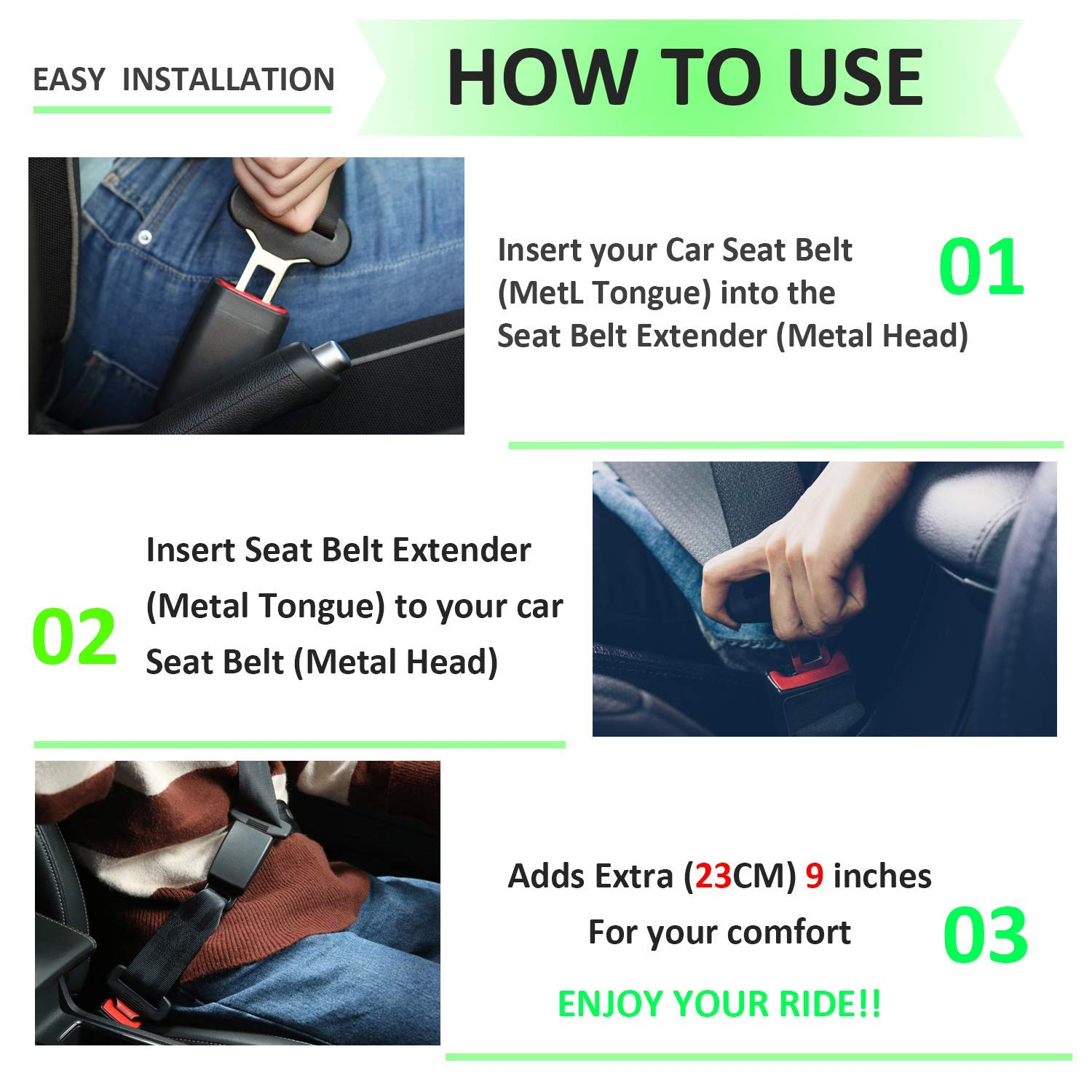 Seat Belt Extender-JAMfit 2 Packs Seat Belt Extension E11 Safety Certified 7//8 Metal Tongue 8 Retractable Seat Belt Extension