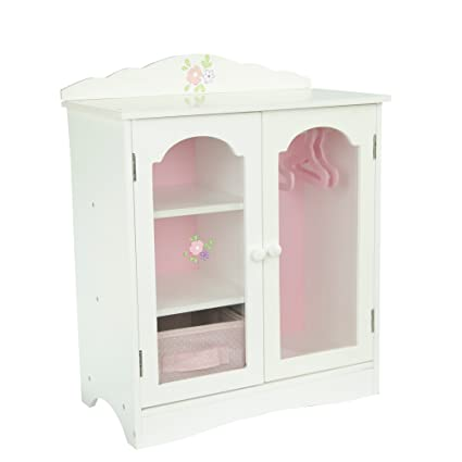 Olivias little world princess fancy wooden closet with 3 hangers and 1 cubby white