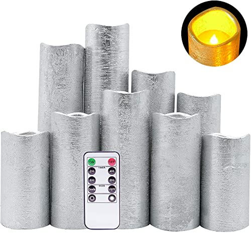 DRomance LED Flameless Flickering Candles Battery Operated with Remote and Timer, Set of 9 Silver Coating Warm Light Real Wax Pillar Candles for Christmas Home Decoration D 2.2 x H 4 -9