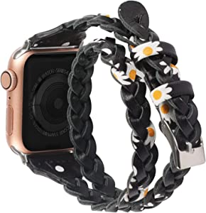 Moolia Double Leather Band Compatible with Apple Watch 42mm 44mm, Women Girls Woven Slim Leather Watch Strap Double Tour Bracelet Replacement for iWatch SE Series 6 5 4 3 2 1 (Daisy, 42mm/44mm)