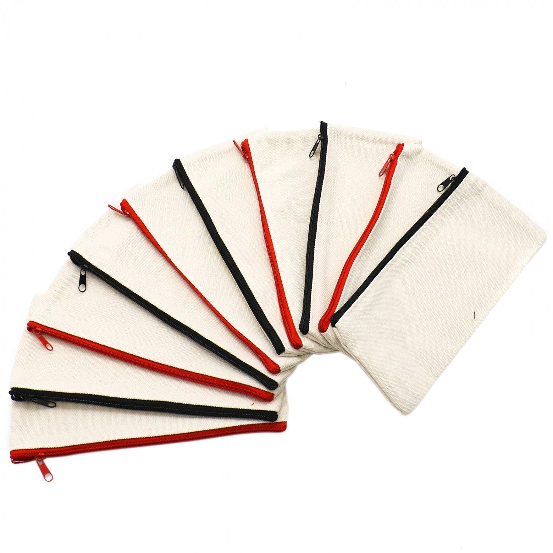 IDS 10Pcs Multi-purpose Cotton Canvas Zipper Invoice Bill Bag Pen Pencil Cosmetic Makeup Bag Pouch Blank DIY Craft Bag