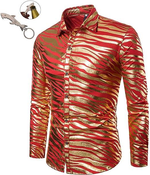 G&Armanis shop Camisa de Otoño para Hombre Nueva, Estampado a Rayas de Cebra Bicolor Estampado En Caliente Camisa de Manga Larga S-XXL,B,XXL: Amazon.es: Deportes y aire libre