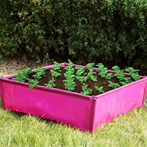 GOODMAX GARDEN Raised Garden Bed - Plastic Elevated Garden Bed Planter Box Heavy Duty PE Material for Vegetable/Flower/Herb Outdoor 29.5x29.5x9.8in Square, 140L/30 Gallon, Pink