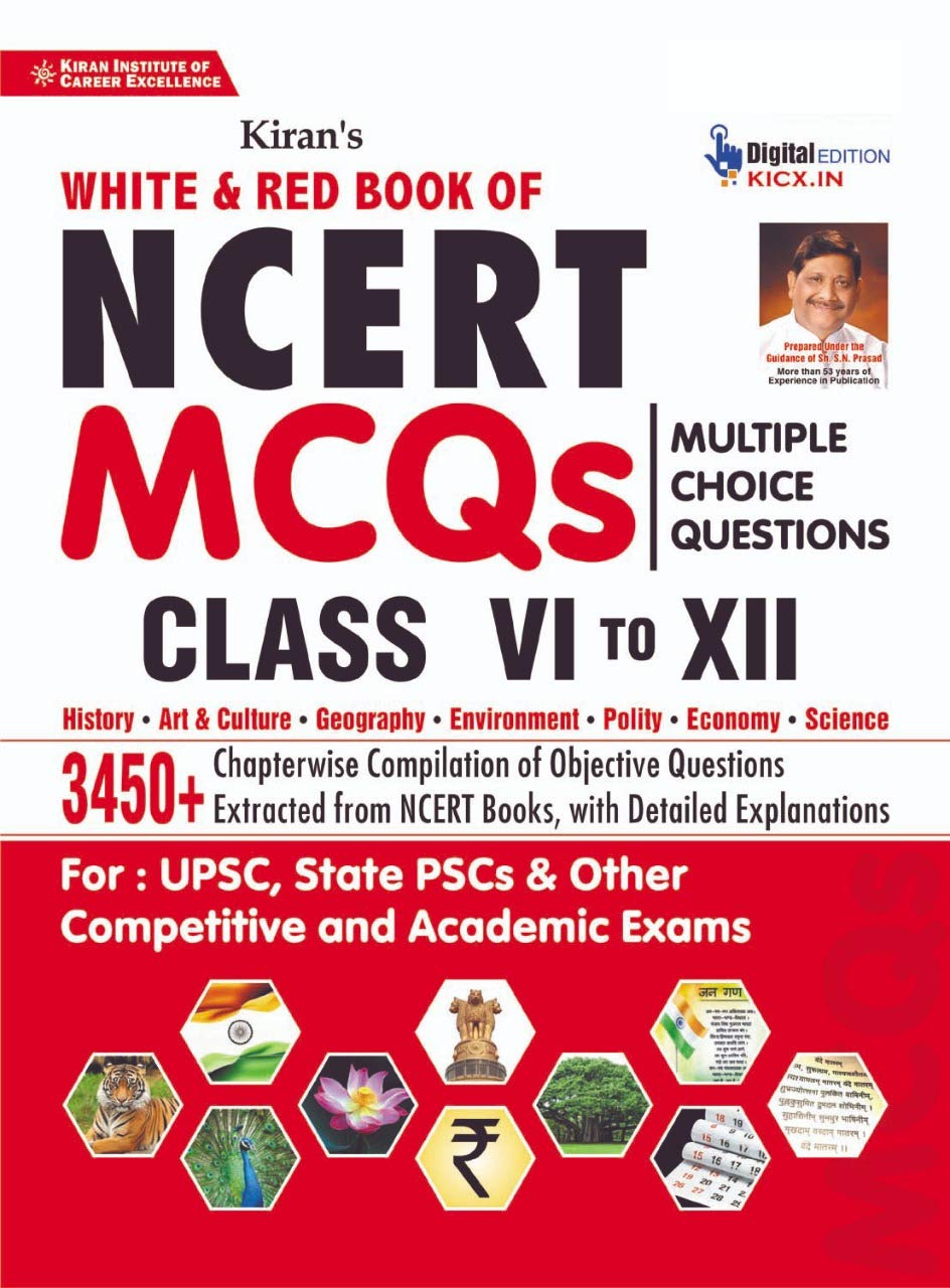 Kiran White and Red Book of NCERT MCQs Multiple Choice Questions Class 6 to 12 Chapterwise Compilation of Objective Questions (2835)