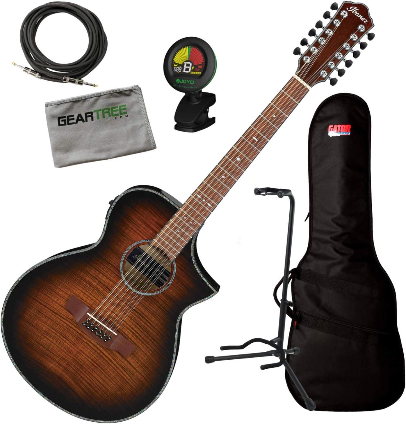 Ibanez AEWC4012FM TIB Tiger Burst - Guitarra acústica (12 cuerdas ...