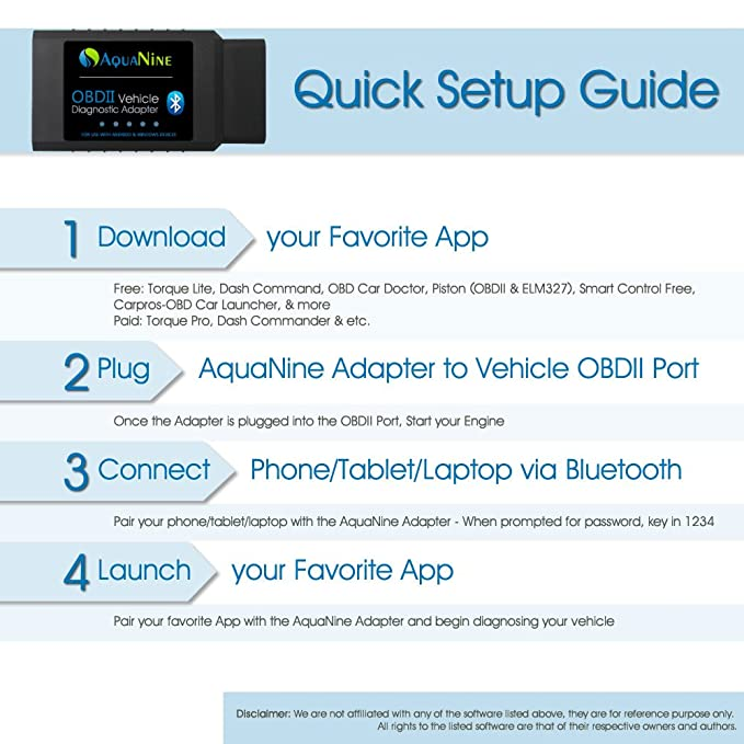 Amazon.com: AquaNine OBD2 OBDII Bluetooth Car Scanner Diagnostic Reader Adapter Scan Tool for Android and Windows Device - Read and Clear CEL Trouble Codes ...