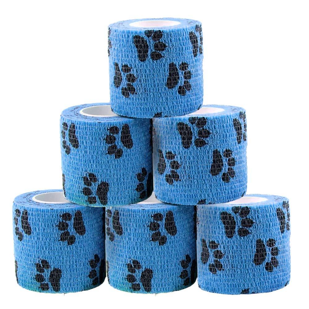 6 rollos de vendaje cohesivo, vendaje de fijación autoadhesivo, veterinario, vendaje de fieltro elástico, impermeable, transpirable, para cargas de los nudillos, esguinces, hinchazón (patas de gato)