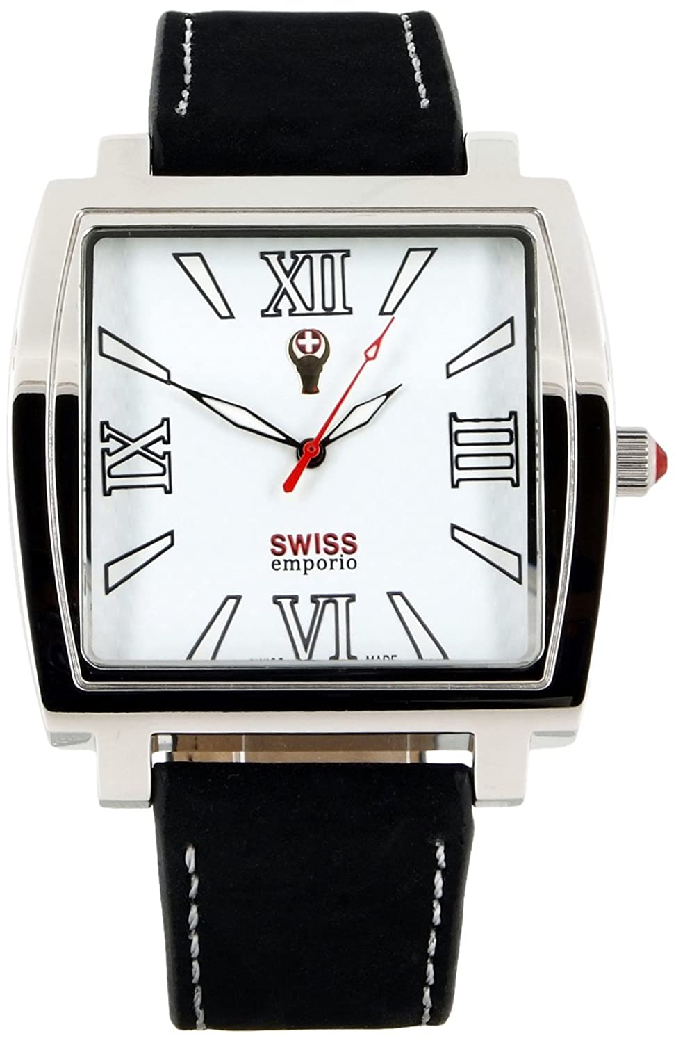 Swiss Emporio Men'Armbanduhr - Swiss Made SE04WHSL10 Analog Quarz Leder schwarz