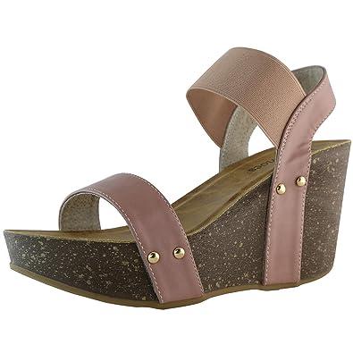 28dc15a1d39a DailyShoes Women s Wedge Platform Slide On Comfort Ankle Elastic Strap Sandal  Buckle Shoes