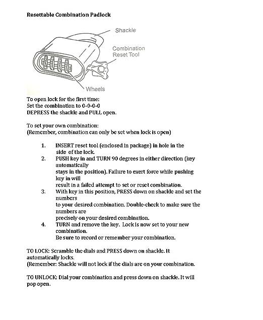 Kingsley Combination Padlock 1 Inch Hardened Steel Shackle Set