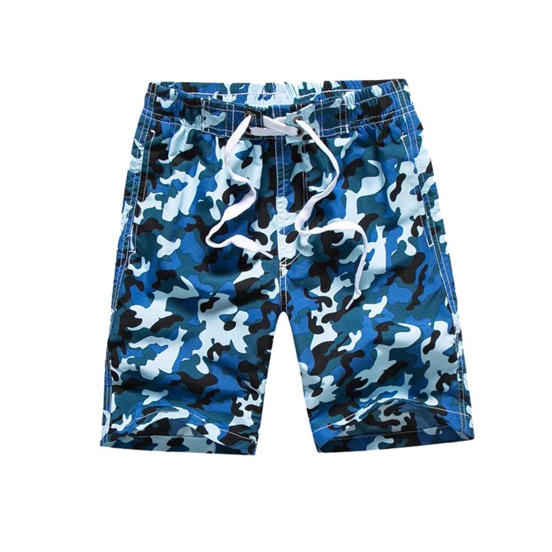Warrlen Boy's Youth Camo Swim Trunks Shorts Swimsuit (Blue Camo, L)