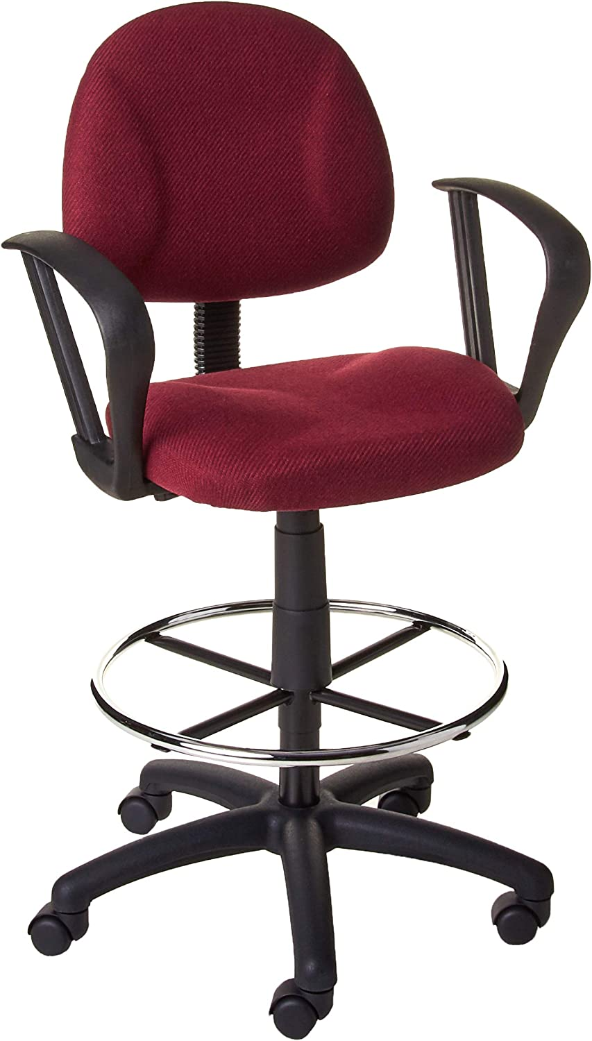 Boss Office Products Ergonomic Works Drafting Chair with Loop Arms in Burgundy
