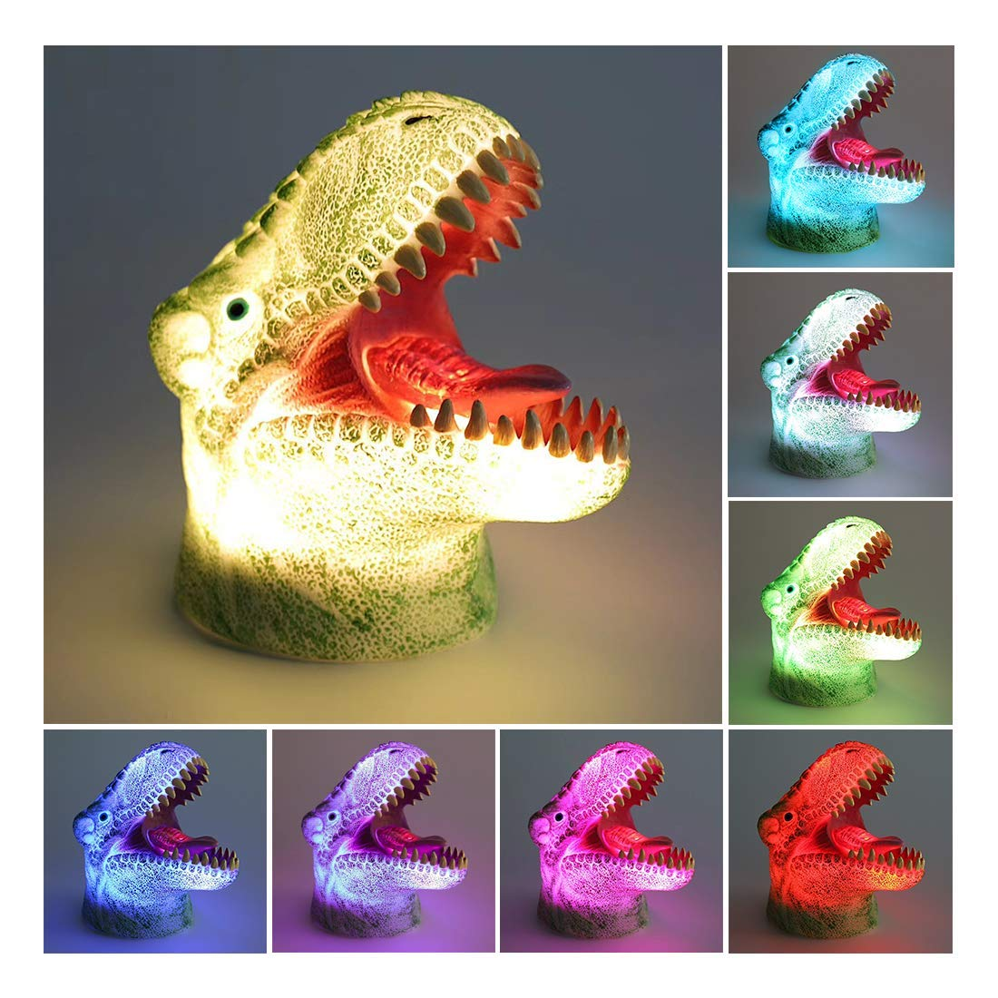 [Wall Adapter Included] 3D LED Dinosaur Night Light for Kids, Rechargeable Baby Nursery Nightlights Sensitive Tap Control 7 Color Changing Bedside Lamp for Children Boys Girls Birthday Christmas Gift