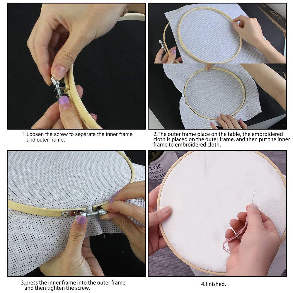 DIY Set de Aros de Bordado de Bamb/ú Kbnian 5 Piezas Punto de Cruz 14//18//21//24//27cm Estilo Chino Ideal para Principiantes de Bordado