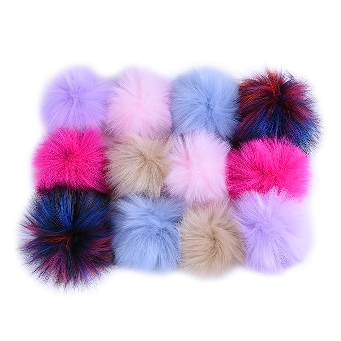 0a2b6d0f70f Amazon.com  JINSEY 12pcs Faux Fox Fur Fluffy Pompom Ball For Hat ...