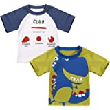 Pawzbay Toddler Little Boys 2-Pack Short Sleeve Crewneck T-Shirts Top Tee Size for 2-7 Years