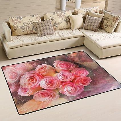 Amazon.com: Happy Valentines Day with Rose Flowers Decorative Area ...