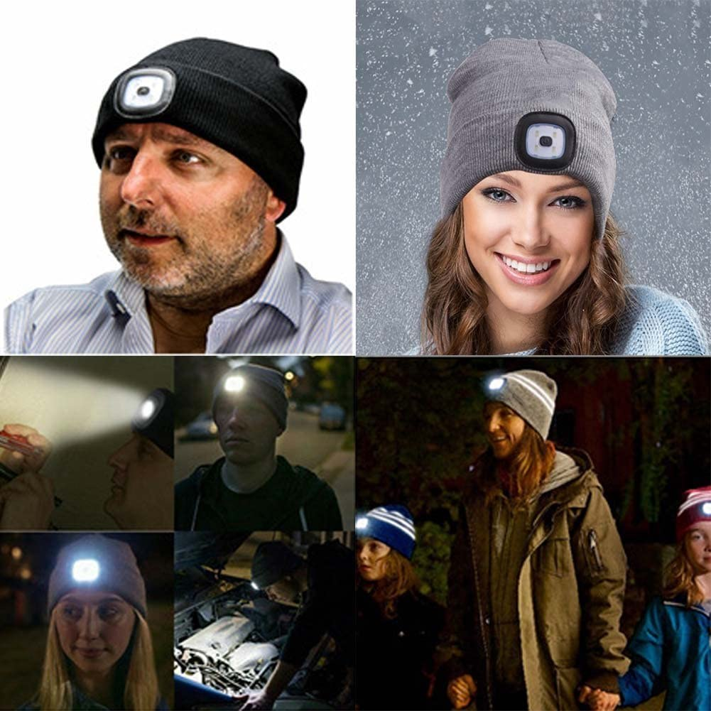 Unisex LED Beanies Hat With Battery Head Light Torch High Powered Knitted Baggy