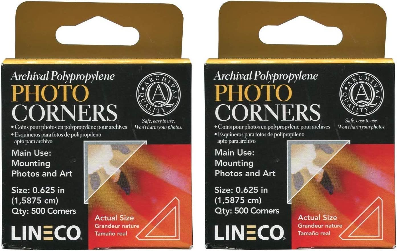 D/écor Great for Scrapbooking Easily and Safely Mount Your Art Craft Photos Set of 2. Documents Gifts DIY Pack of 240 Lineco Archival Polyester 1.375 Inch Photo Mounting Corners and More