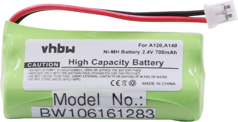 vhbw NiMH batería 700mAh (2.4V) para teléfono, Fijo Siemens Gigaset AL110, AL110 Duo, AL110 Trio, AL110a, AL110a Duo, AL110a Trio, C30852D1640X1.