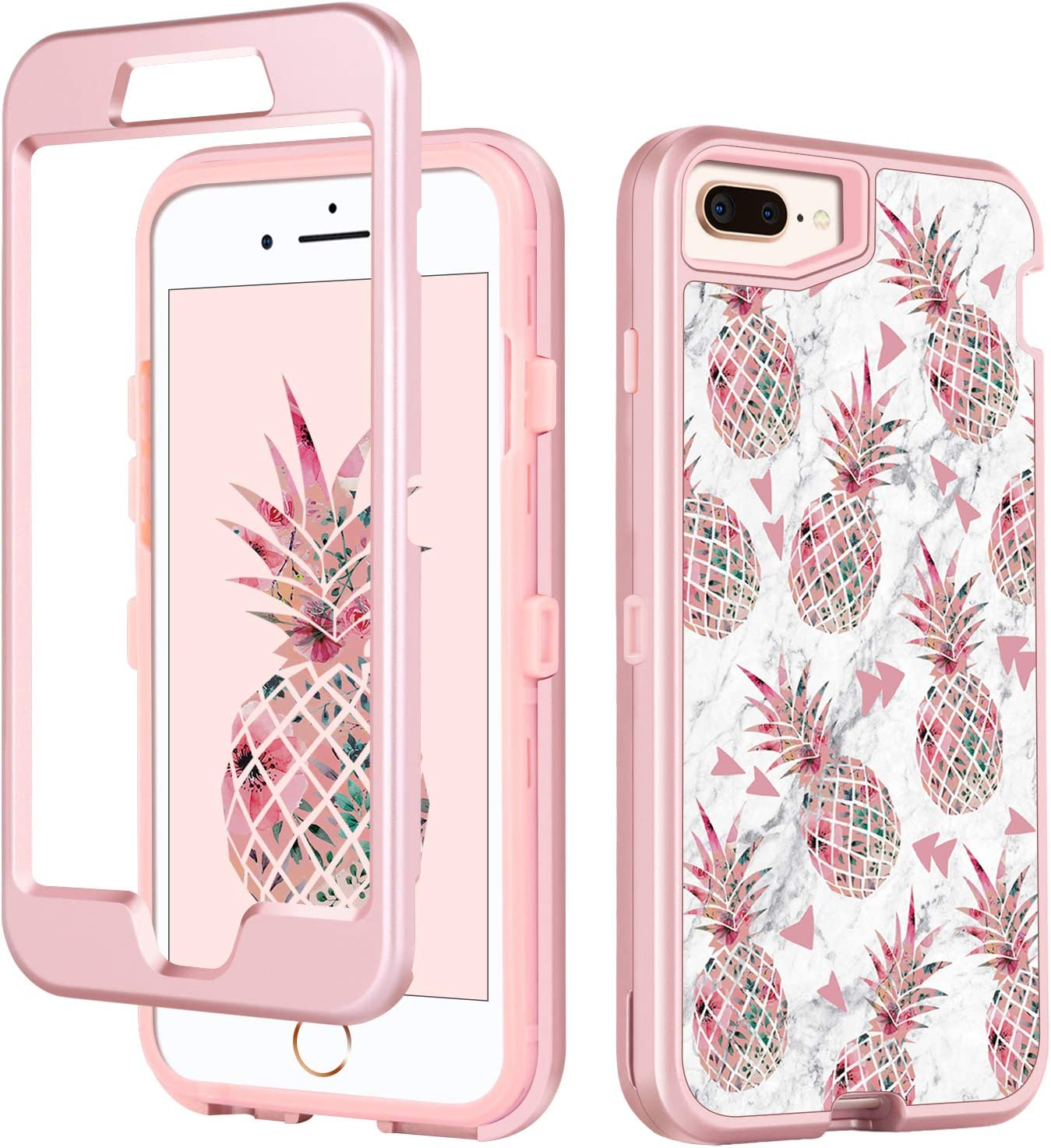 iPhone 6s Plus Case iPhone 6 Plus Case Pineapple for Girl Women, GUAGUA Marble Glossy Cover Hybrid 3 in 1 Hard PC Soft Bumper Shockproof Protective Phone Case for iPhone 6S Plus/6 Plus,Rose Gold