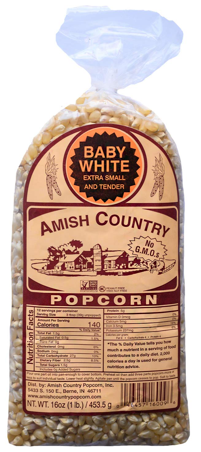 Amish Country Popcorn - Baby White Kernels (1 Pound Bag) Small & Tender Popcorn - Old Fashioned And Delicious, with Recipe Guide by Amish Country Popcorn