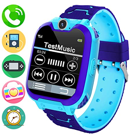 Kids Music Smart Watch Phone for Student, Smartwatch [SD Card Included] 1.54 inch Touch Screen Watches 2 way Calls with Alarm Clock Camrea Game ...