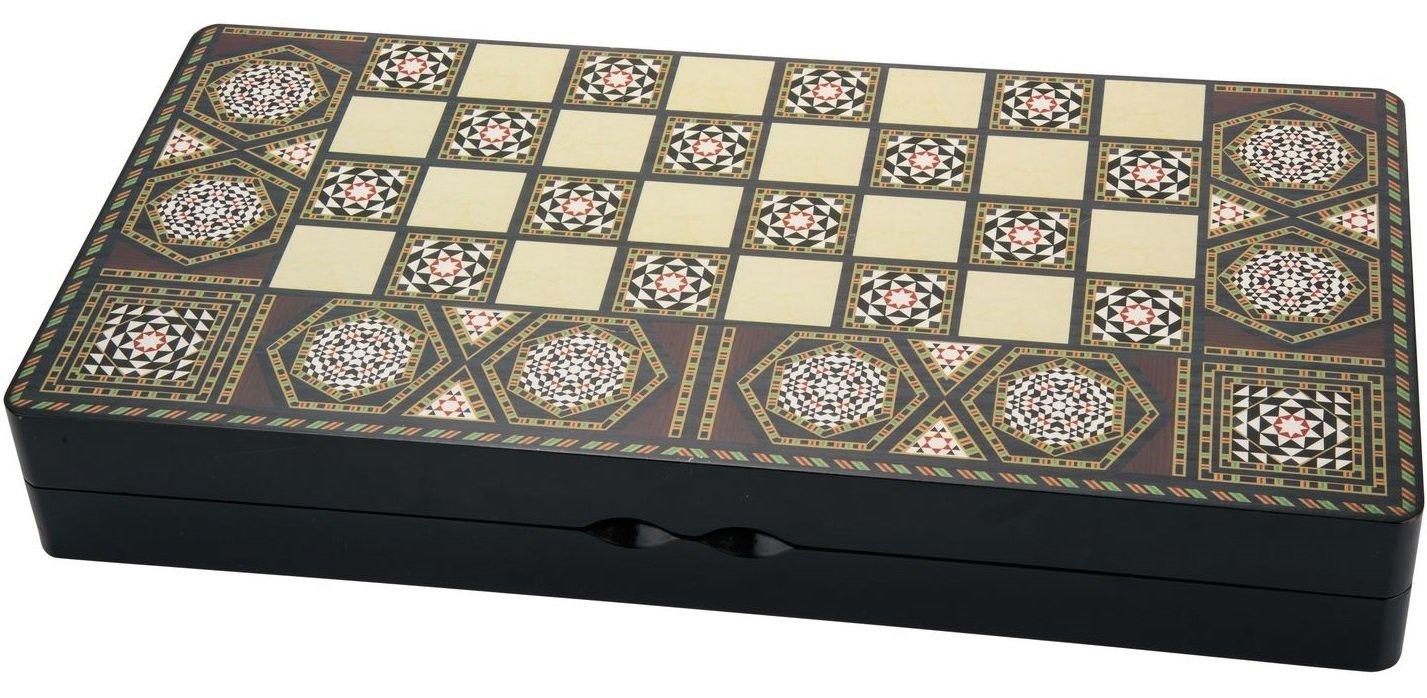 格安新品  Turkish Style Persian Arabic Backgammon Chaquete tawlt (tkhth nrd) alzhr (tkhth Chess Checker (3 in 1) Set Wood 19.5