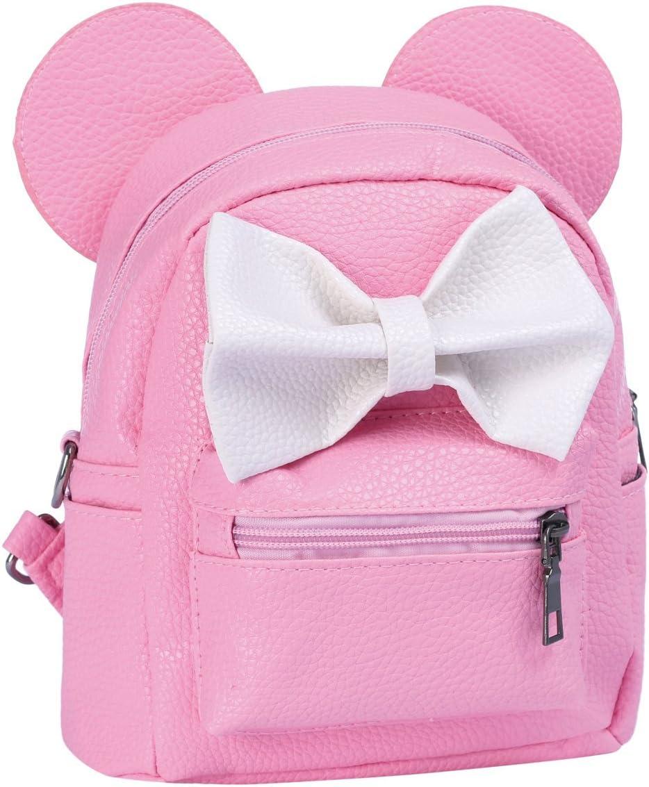 Women Girl Cute Cartoon Mini Backpack Kid Small PU Leather Bowknot Mouse Rucksack Student Back to School Book Bag Teenager Travel Handbag Big 3D Ear Satchel Shoulder Bag Purse Daypacks Casual Outdoor