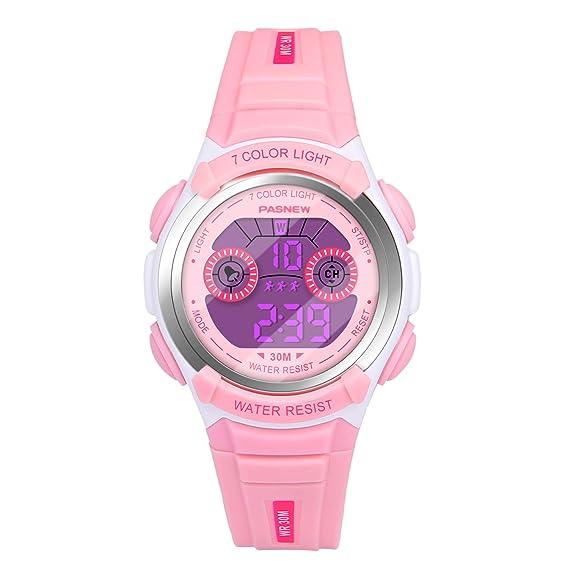 Hiwatch Reloj Multifuncional LED Digital a Prueba de Agua Relojes para los Niños Rosa: Amazon.es: Relojes