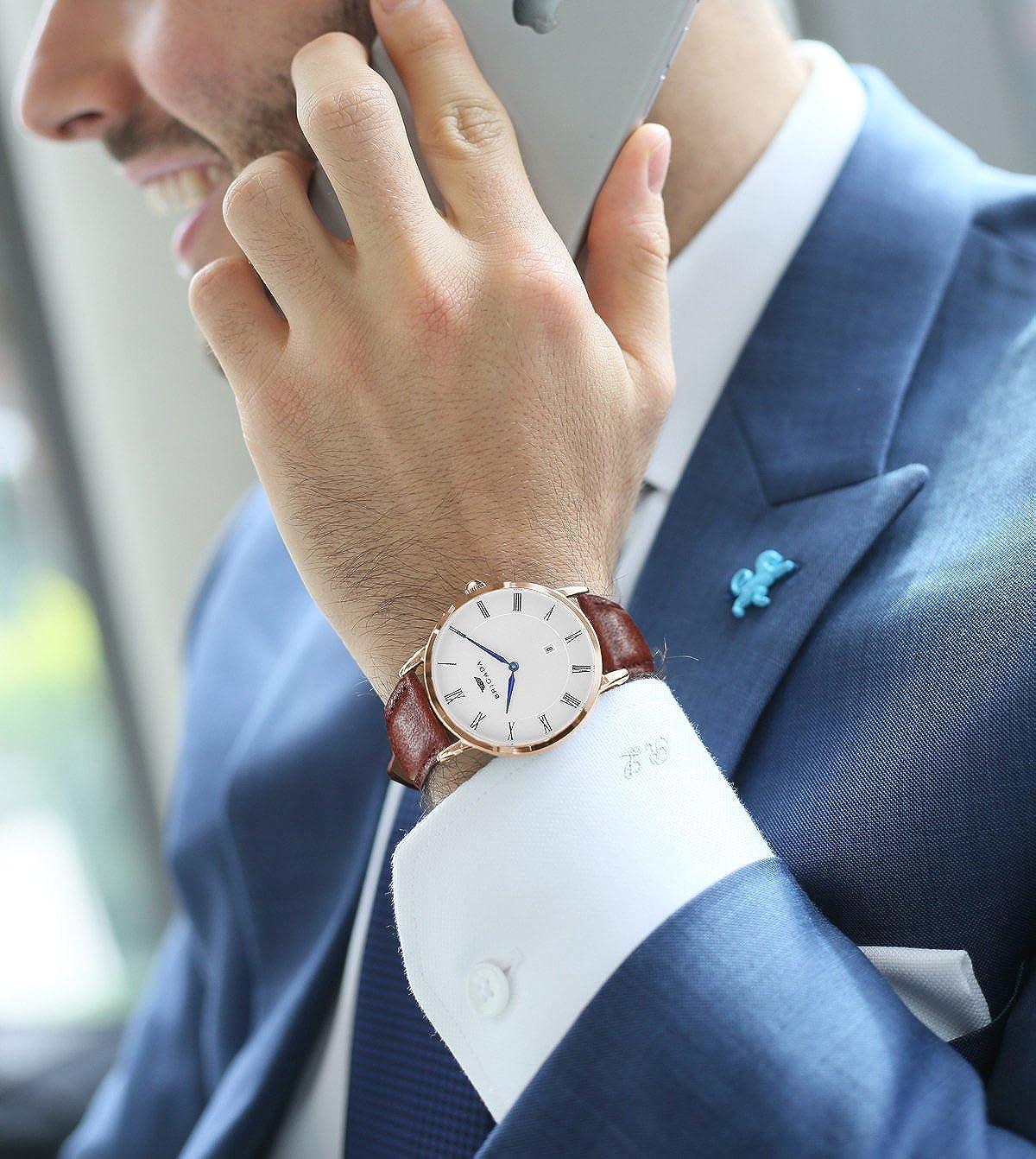 Swiss Brand Nice Fashion Minimalist Men s Dress Watch Waterproof, Rose Gold Case Business Casual Men s Wrist Watch