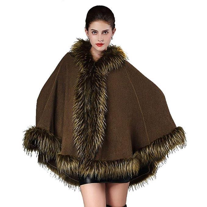 Poncho De Piel Mujer Invierno Piel Falsa Abrigos Vintage Anchas Mode De Marca Espesar Chal De