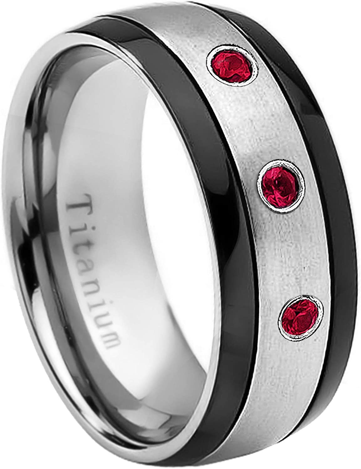 6MM Brushed Finish Comfort Fit Classic Dome White Wedding Band 11.5 July Birthstone Ring 0.07ct Ruby Titanium Ring