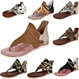 IHU Women Flat Sandals,Ladies Casual Ankle Strap Flat Sandals Summer Beach Vocation Travel Flip Flop Shoes Clip Toe Retro Pri