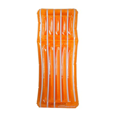 "72"" Inflatable Orange and White Transparent Cool Stripe Swimming Pool Mattress Float: Toys & Games"