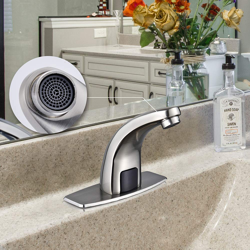 Lead Free Kitchen Vessel Sink Tap with Control Box,Brushed Nickel Motion Activated Hands Free Kitchen Sink Tap with Hole Cover Deck Plate Halo Sanitary Automatic Touchless Sensor Bathroom Faucet