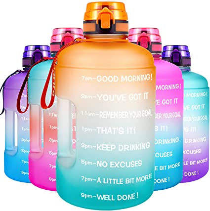 QuiFit Motivational Gallon Water Bottle with Time Marker BPA-Free Reusable Sport Fitness Water Jug Wide Mouth Opening Easy to Fill for Measuring Your Daily Water Intake