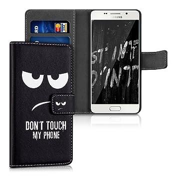 kwmobile Funda para Samsung Galaxy A5 (2016) - Carcasa de [Cuero sintético] con diseño Dont Touch my Phone - Case con [Tarjetero]