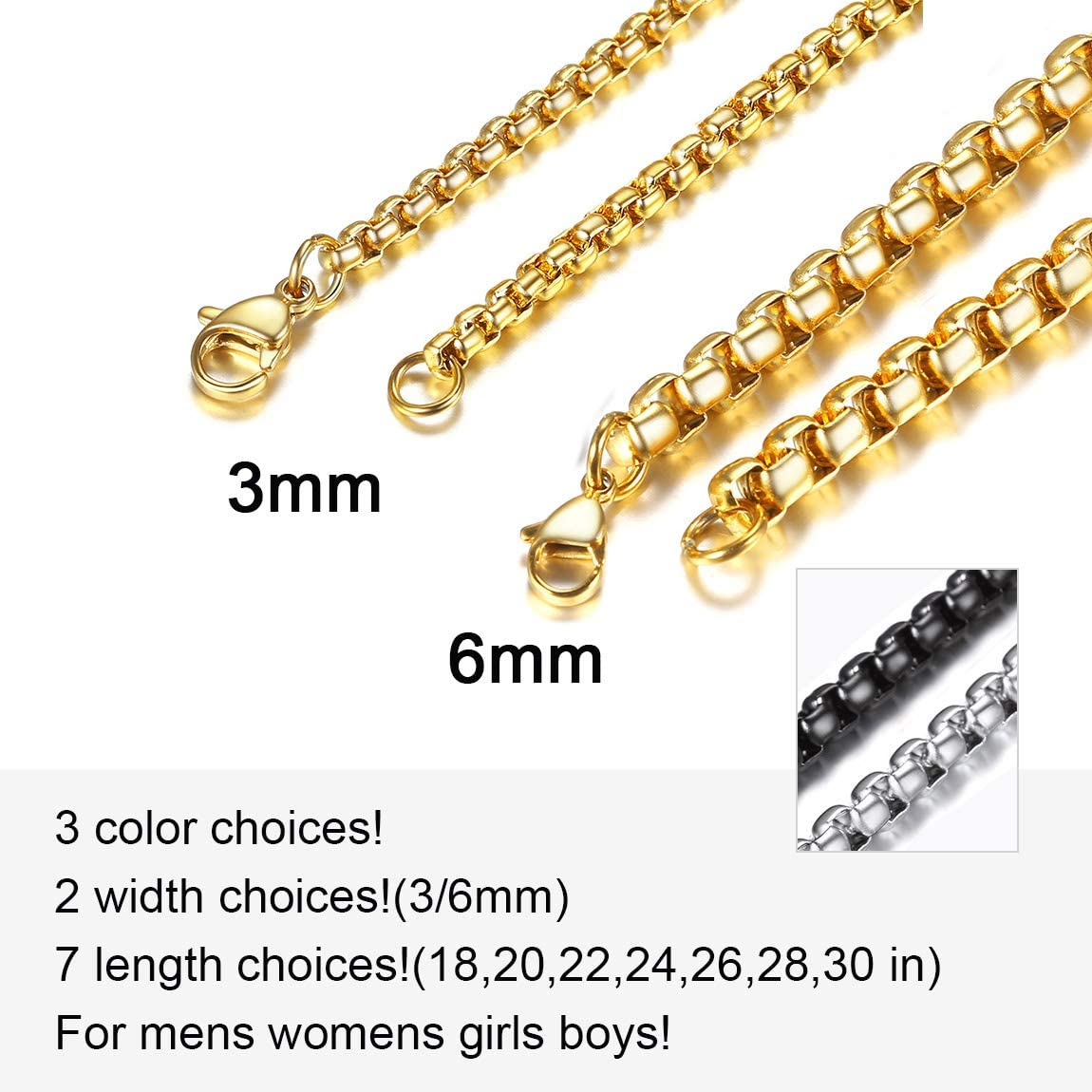 ChainsPro 3mm Belcher Chain Anchor Chain Round Box Chain Necklace Unisex Fashion Jewellery Neck Chains,18k Gold Plated//Stainless Steel//Black,18,20,22,24,26,28,30,32in Pouch Velvet+Gift Box