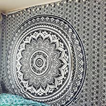 """""""Black and White Ombre Tapestry by JaipurHandloom"""" Mandala Tapestry, Queen, Multi Color Indian Mandala Wall Art Hippie Wall Hanging Bohemian Bedspread"""