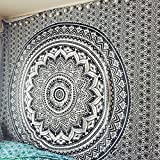 "Exclusive ""Black and White Ombre Tapestry by JaipurHandloom"" Mandala Tapestry, Queen, Multi Color Indian Mandala Wall Art Hippie Wall Hanging Bohemian Bedspread"