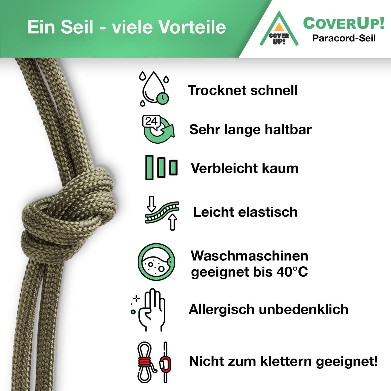 CoverUp! cuerda paracord 550 de 7 hilos - cuerda resistente - 31 metros de cordino paracord con una cubierta de cuerda extremadamente robusta (verde ...