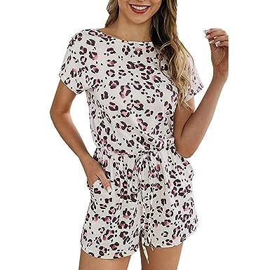 ramasser forme élégante invaincu x Combi-short à manches courtes et imprimé floral pour femmes ...