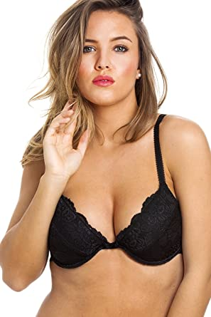 37a32cb9a0 Camille Womens Black Floral Lace Push Up Plunge Padded Underwired Bra   Amazon.co.uk  Clothing