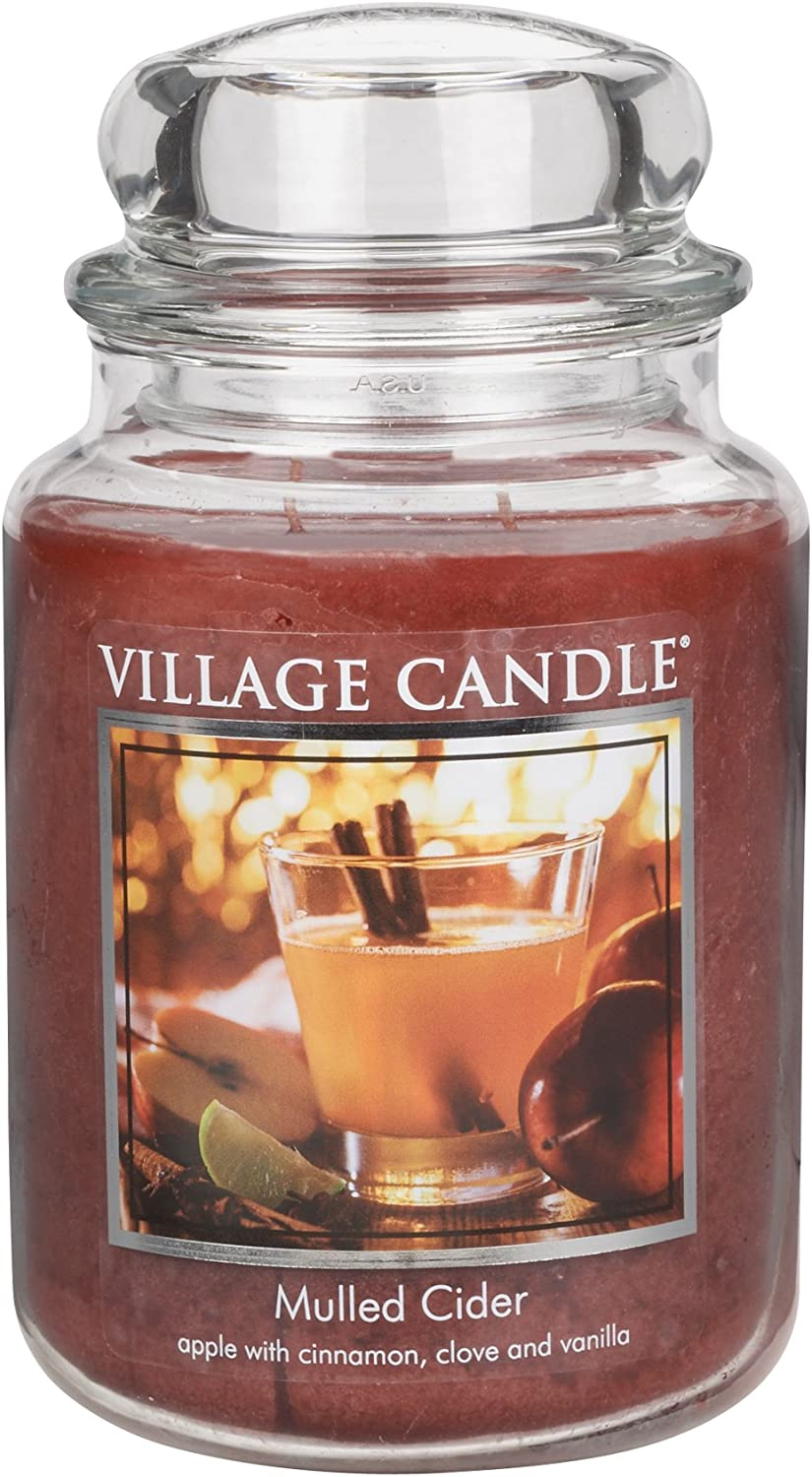 Village Candle Large Fragranced Candle Jar 17cm X 10cm 26oz 1219g Mulled Cider Upto 170 Hours Burn Time Amazon Co Uk Kitchen Home