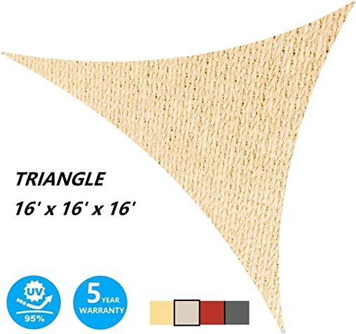 AsterOutdoor Sun Shade Sail Triangle 16' x 16' x 16' UV Block Canopy